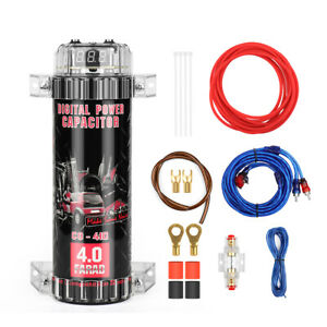 4.0 Farad Car Audio Capacitor Digital Voltage Power Subwoofer Pond with Wire Kit