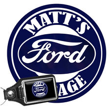 """Personalized Vintage Ford Garage 12/"""" Round Aluminum Sign with Matching Key Ring"""