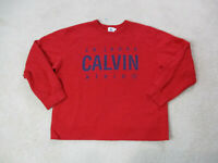 VINTAGE Calvin Klein Sweater Adult Medium Red Blue CK Spell Out Pullover 90s *