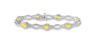 15.00CT Beautiful Citrine & Cubic Zirconia 935 Argentium Silver Bracelet