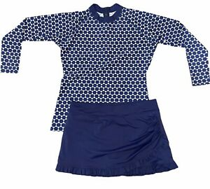 LIME RICKI Women's XL Navy Ruffle Swim Skirt & XXL Navy Long Sleeve Rash Guard