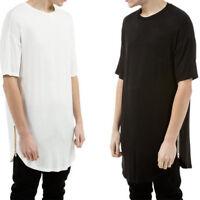 Men T-Shirt Side With Zipper Short Sleeve Men Long line Streetwear Top Curve Hem