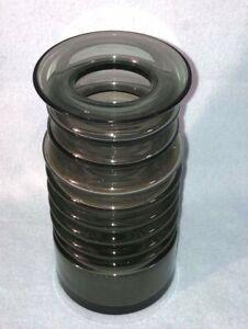 Xylinder Vase Rillen Rauchglas Spage age Pop Art schwer