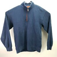 Orvis Men's Medium Sweater 1/4 Zip Pullover Cotton Long Sleeve Blue