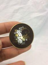 Beautiful vintage Japanese Amita Gold Plate Damascene Pin Brooch
