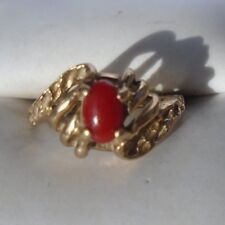 fine 10K yellow gold red coral ring size 4 1/2