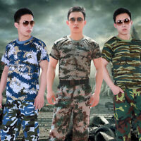 Men Camouflage T-Shirt Military Short Sleeve Fitness Training Workout Muscle Top