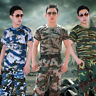 Men Army Militray Camo T-Shirt Short Sleeve Tee Shirt O Neck Top Summer Fast Dry