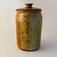Wheel Thrown Studio Art Pottery Canister Jar Tan Brown Signed AE EUC