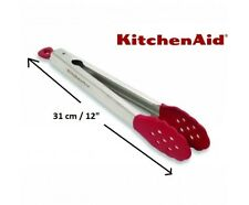 KitchenAid Professional Series Silicone Tipped Stainless Steel Tongs 71349- Red
