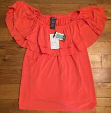 NWT Women's CHELSEA & THEODORE 4 Ways To Wear Ruffle Tiered Top Blouse Medium M