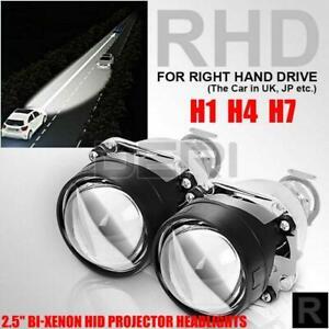 """2x 2.5"""" RHD Car Bi-xenon HID Projector Halo Lens Headlight  H1 Xenon Bulb H4 H7"""