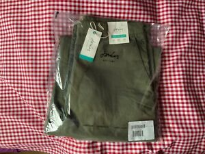JOULES WOMENS COMPTON WIDE LEG CROPPED CHINOS TROUSERS - GRAPE LEAF - SIZE 14