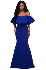 Blue Ruffle Maxi Long Dress Club Wear Fashion Evening Wear Size S M L