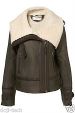 Topshop Genuine Sheepskin Shearling Leather Aviator Biker Jacket Coat 8 36 US4 S
