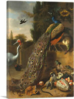 ARTCANVAS Peacocks 1683 Canvas Art Print by Melchior d-Hondecoeter