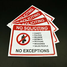 2 NO SOLICITING ,No religion ,No sales people, No Exceptions Waterproof 4 x 5""