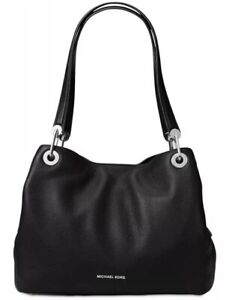 ❤️ Michael Kors Raven Pebble Black/Silver Leather Tote