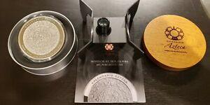 2010 Mo MEXICO 32.15 Oz 1 Kilo $100 AZTEC CALENDAR SILVER COIN W/Box & COA