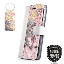 Surazo ® Véritable sac en cuir Housse de protection Wallet Case Cover-gris/fleur...