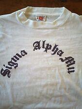 Vintage Hanes Sportswear Sigma Alpha Mu Fraternity College T Shirt Med Usa Made