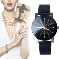 Women Men Leather Stainless Steel Sports Watch Fashion Quartz Analog Wrist Watch