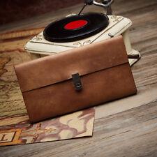 Cowhide Genuine Leather Vintage Soft Women Long Clutch Purse Wallet Bifold Money