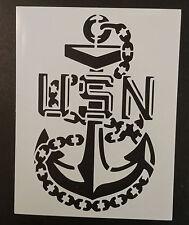 "USA US USN Navy Chief Anchor 8.5"" x 11"" Custom Stencil FAST FREE SHIPPING"