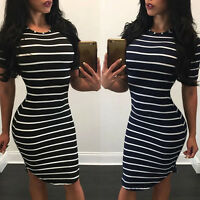 Fashion Womens Dress Stripe Slim Cocktail Party Evening Bodycon Mini Dresses