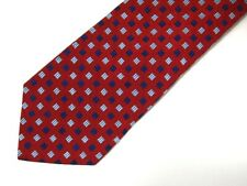 """Brooks Brothers Makers Mens Necktie Tie Red Blue Geometric 60"""""""