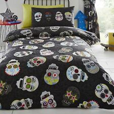 SUGAR SKULLS SINGLE DUVET COVER SET CHILDRENS BOYS TEENAGER BEDDING BLACK NEW