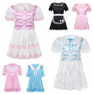 Men's Silky Satin Bodice Lace Trimmed Ruffled Dress Sissy Cross Dresser Costume
