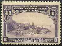 Canada #101 mint F-VF OG NH 1908 Quebec Tercentenary 10c violet Quebec in 1700