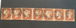 STRIP OF 7 IMPERF STAR PENNY RED GB STAMPS USED Uncut