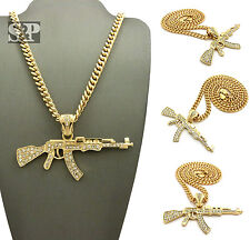 "Hip Hop Gold PT Iced Out AK47 Machine Gun Pendant 6mm 24"" Cuban Chain Necklace"