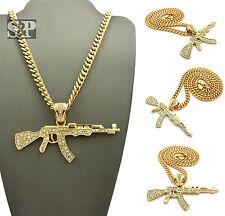 """Hip Hop Gold PT Iced Out AK47 Machine Gun Pendant 6mm 24"""" Cuban Chain Necklace"""