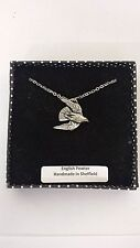 B15 Stooping Falcon english pewter 3D Platinum Plated Necklace Handmade 18 INCH