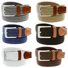 7001G Men's Fabric Leather Elastic Woven Stretch Belt 1-3/8