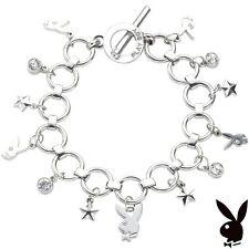 NEW AUTHENTIC Playboy Bracelet Bunny Charm Swarovski Crystal Silver Plated Box 8