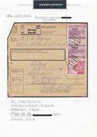 BOHEMIA & MORAVIA 1941 PACKETKARTE POSTED HOWIES HOVEZI  & STAMPS  . REF R2038