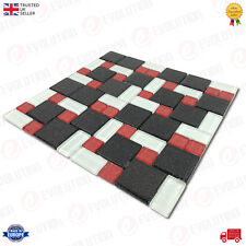 30x30 cm GLASS MOSAIC WALL TILE SHEET BLACK & RED WITH GLITTER DETAILS