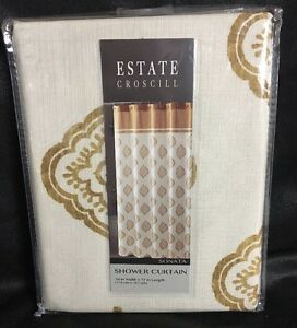 BATH SHOWER CURTAIN ESTATE CROSCILL SONATA 70 X 72 GOLD NEW