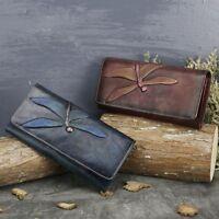 Vintage Womens Dragonfly Genuine Leather Wallet Handbag ID Card Purse Clutch Bag