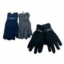 24 Pairs Mens Solid Color Thermal Insulated Fleece Gloves w Strap WHOLESALE LOT