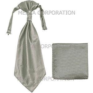 New 100% Polyester Men's Horizontal Stripes Ascot Cravat Hankie Party Gray