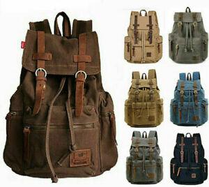 """Shoulder Satchel Canvas Leather 17"""" Laptop Backpack Travel Camping Rucksack"""