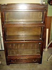 Antique 3 Section Qtr-Sawn Oak Arts & Crafts Bookcase Base has a drawer 450