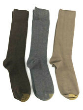 3 Pair Gold Toe Dress Socks, Brown/Lt Brown/Gray, Shoe Sizes 7-12