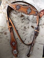 Sparkling Bling Cross Premium Leather Browband Western Horse Headstall TACK