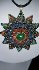 Tibetan Silver Gemstone Large Star Turquoise coral Jade Pendant Necklace